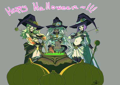 Halloween witches by AoiAya
