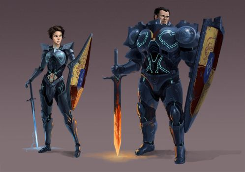 Medieval Sci-fi Characters by Phill-Art