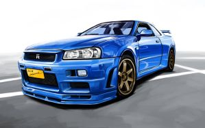 Nissan Skyline GTR R34 by darkdamage
