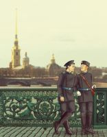 Mystrade: AU, Russia, cadets by MadMoro