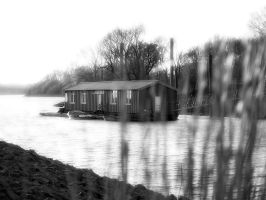 Boat house black and white by Inilein