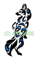 :Tribal standing wolf: by Ashenee