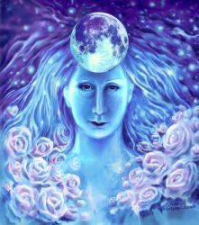 A moon goddess and the roses by CORinAZONe