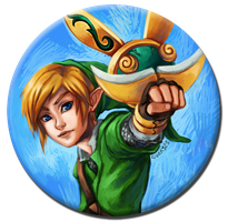 Zelda: Skyward Sword: Link Button by curry23