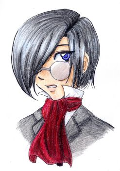 Boy with glasses pencil by Kurai-Chyan