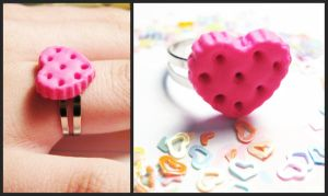 Polymer Clay Pink Cookie Ring by JennyLovesKawaii