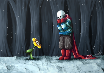 [Soulfell] Flowey and Papyrus by Calista-222