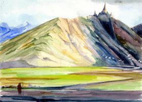 Lonely mountain 2- watercolour version by art-ori