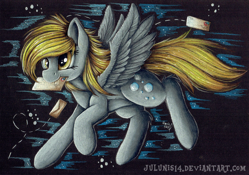 Flying Derpy - Black Paper version by Julunis14