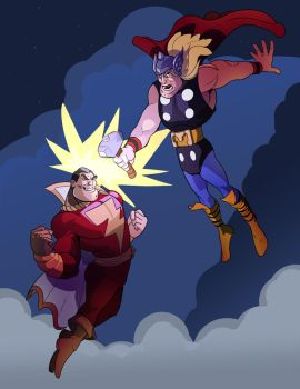 Thor V Captain Marvel (Shazam) by SeanMcFarland