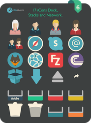 Flat iCons Dock, Stacks and Network 2016 by valvator