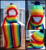 Rainbow Scarf and Hat by Petra0
