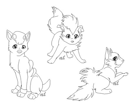 Dog Pokemon - Linearts by LindsayPrower