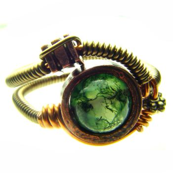 Steampunk Ring Moss Agate by CatherinetteRings