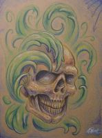 skull in the weeds by JWheelwrighttattoos