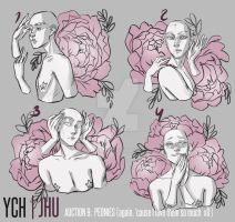 [CLOSED] 9 YCH auction  (peonies) | JHU by JHUffizi