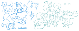 YCH - Fox Kits/Wolf Pups sketches by FeralGator