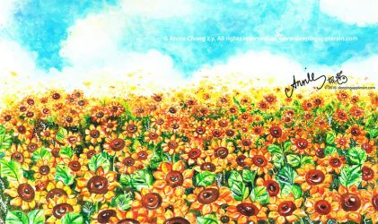 Sunflower Field by applerain