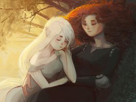 Merida x Aisling: lounging by catharticaagh