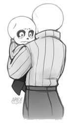 Blizzard Gaster holding Young Sans by APEX-Knight