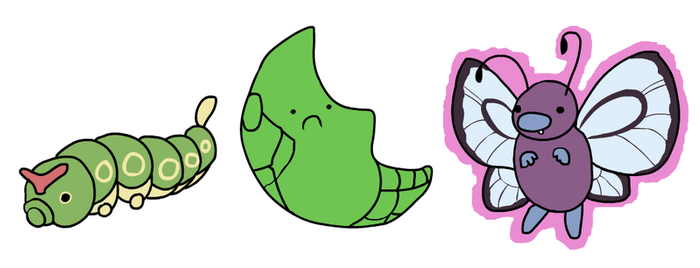 Caterpie, Metapod, Butterfree by HappyCrumble