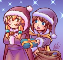 Hat Kid and Mustache Girl - Christmas Eve by Thaumana
