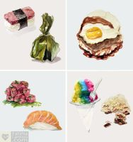 Watercolor: Hawaiian Food Series by taho