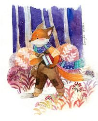 Fox with books by deerfox-art