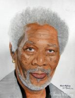 Morgan Freeman by traciewayling