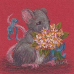 Critters Lugging Stuff Around 3: Mouse w/ Flowers by metasilk