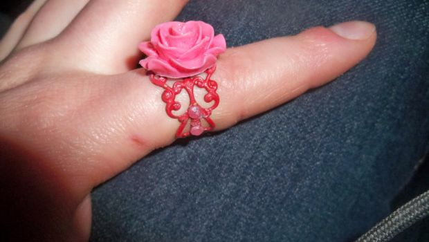 Pink Rose Ring with Red Back by HeldUpInTheAir