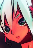 Vivid Color Red Miku Face by aheahead