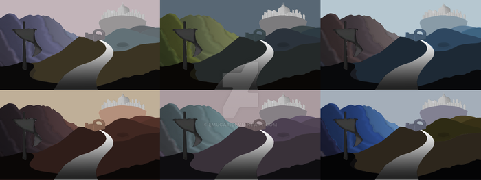 Castle Scene Colour and Value Tests by EmuCat