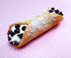 chocolate chip cannoli polymer clay food magnet by ScrumptiousDoodle