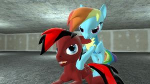 Rainbow Dash biting David's Ear by SkyrimFireDragon