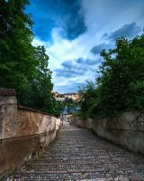 Stairs under the cloudy sky by Yupa