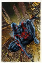 Spiderman 2099 #1 painted cover by simonebianchi