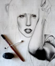 Lady Gaga WIP by juley-art