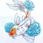 Koi with Roses by scarletkk
