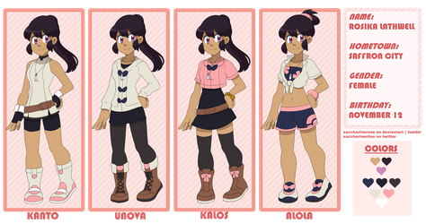 [PKMN OC] Rosika Reference Sheet by Saccharinerose