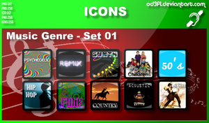 Music Genre Icons - Set 01 by od3f1