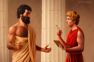 Aristotle teaching Alexander by JFoliveras