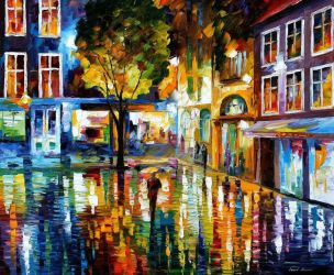 Strip Mall by Leonid Afremov by Leonidafremov