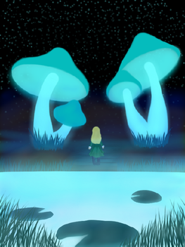 Girl in the Mushroom Cavern by piechie