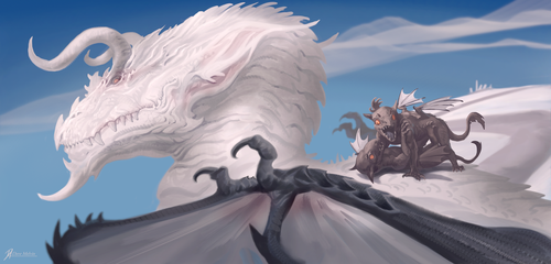 Legendary-White-Dragon-With-Young by Davesrightmind