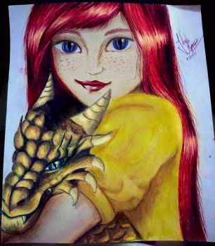 Girl with her dragon by Jujubs14