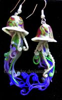 green and purple galaxy jelly fish large by carmendee