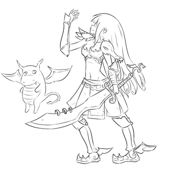 DragonSlayer Woman #lineart by Quiten
