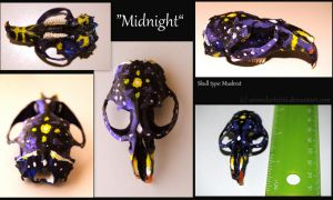 Midnight- Painted Muskrat Skull - FOR SALE by DyslexicDesert