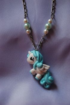 Light blue Unicorn necklace by Libellulina